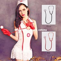 Wholesale DHL Taste temptations doctors and nurses stethoscope Halloween party costumes cosplay black red toys children props stage performances party
