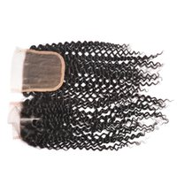 Wholesale Top Lace Closure Brazilian Peruvian Indian Malaysian Kinky Curly Human Hair Soft Closure Cheap Curly Lace Closures