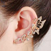 animal rights jewelry - Crystal Zinc Alloy Trendy Jewelry Butterfly Clip Earrings for European Women Left Right Ear Jewelry Ear Cuff
