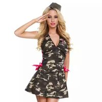 backing up movies - Halloween Camouflage Uniform Halter Dress Costume Cosplay Backless Low Back Side Tie Up Rose Silk Ribbon Dress Erotic Women s Costumes