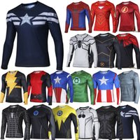 Wholesale superhero comp Captain America batman Marvel Comics Costume Cycling Tee Sport T Shirts Long Sleeve Bicycle Jersey long sleeves S XXXXL DHL