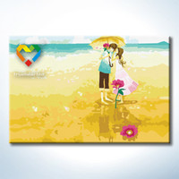 baby stories - Love Story DIY Painting Baby Toys x30cm Coloring Canvas Oil Painting Kids Drawing Toys Set for Colleague Gift with Wooden Frame