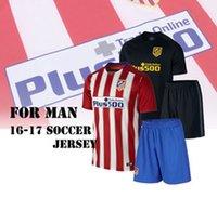 Wholesale 16 Men s Soccer Suit Atletico Madrid Soccer Jersey GRIEZMANN F TORRES GODIN KOKE GABI etc Home Away football shirt with shorts