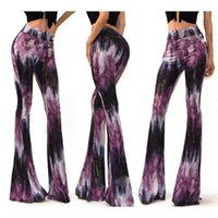 bell trousers - Wide leg trousers summer women s waist trousers printed leggings jumpsuit Horn leggings lady HOT Bell bottom pants Loose Casual Pants