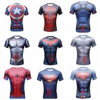 Wholesale 6 Styles The Avengers Super Hero D Print Men T Shirt Quick Dry Gym Muscle Skintight Sportswear Short Sleeve Elastics Breathable Men Tee