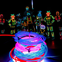 al por mayor trajes de neón-16.4 pies Glow EL Cadena Banda Cable 5M de neón flexible tubo de la cuerda Luz del baile del coche de vestuario + Controlador de luz de la Navidad decorativa Luz