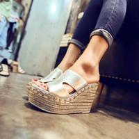 beach wedge shoes - H brand women lady high heel platform wedge summer leather rivets slipper sandal shoes H1935