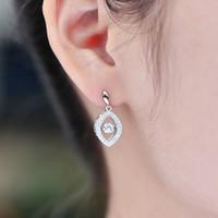Wholesale New Fashion Dancing Created Diamond Sterling Silver Hanging Earings for Women Long Dangle Earrings Wedding Engagement Jewelry DE8000D