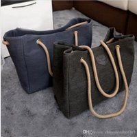 Wholesale Hot Sale Canvas Handbags Personality Contracted Large Bag Single Or Double Rope Shoulder Bags For Women