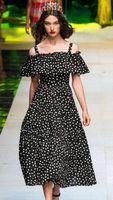 Wholesale Polka Dot Print Women Maxi Dress Sexy Sling Dresses