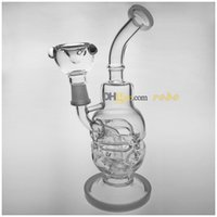 Wholesale 2016 New Fab Egg Skull quot Glass Bong Glass Water Pipe Smoking Pipe Two Function Dry Herb Use Oil Rig