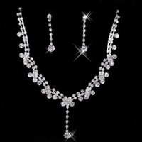Wholesale Hot Sale Tear Drop Shaped Necklace Earrings set Bridal Jewelry Fashion Jewelry Sets For Woman