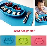 Wholesale Ezpz Happy Mat Baby Meal Mat Silicone Feeding Placemat Food Bowl Baby Dishes for Child Children Feeding School Free DHL