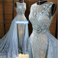 beaded celebrity - 2016 Zuhair Murad Evening Dresses Detachable Overskirt Deep V Neck Illusion Blue gray Pearls Beaded Lace Appliques Tulle Celebrity Prom Gown