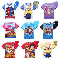 Wholesale Spiderman Shirts For Girls - Free DHL 2016 Dog Paw Shimmer Shine Kids T-Shirts 18Designs Children Cartoon Tee Shirts Spiderman Minions Short Sleeve Top Tees For 3-8T
