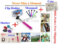 Wholesale New Universal Self Remoter Shutter With Turn Key For all ios Android Extand Monopod Self Stick Clip Holder Silicon Case