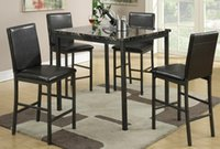 dining table and chair - Poundex Faux Leather Upholstered High Dining Chair and Square Counter Height Dining Table Set