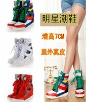 Wholesale Fashion Brand Women s Top Quality MJ Cutout Sneakers Genuine Leather High Top Hidden Wedge MJ Trainers Shoes Lace Up MJ Casual Shoes