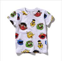 Wholesale 2016 New Sesame Street Kids Children Tee Shirt Elmo T shirt Red Cartoon Print Short Sleeve Dress Boys Girls Baby Cotton Summer Shirt sizes