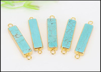 Wholesale 5pcs Turquoise Bar Connectors Gold Plated Slim Rectangle Turquoise Bar Connector Beads Double Bail Turquoise Connectors with Gold Edged