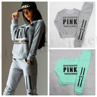 ankle trousers - Women Pink Tracksuit VS Brand Hoodies Sweatshirt Pants Fashion SportWear Tracksuit VS Jogging Sport Suit Cardigan Trousers Costume Sets D168