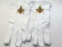 Precio de Guantes de manopla-Guantes de algodón de alta calidad guantes de albañiles libres brújula y cuadrado Guantes de albañilería masónicas guantes de bordado nueva llegada