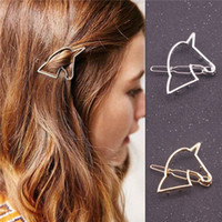 asian unicorn - Simple Design Unicorn Shape Hairpins Women Hair Accessories Gold or Silver Tone Metal Hair Clip H2024