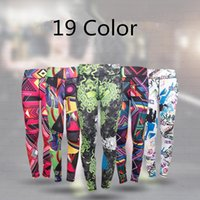 Wholesale Stretch Spandex Pants Wholesale - Women Print Quick Dry Stretch Yoga Pants Tight Hign-Waisted Sport Leggings Trousers Elastic Sports Running Gym Fitness Slim Leggings LJJP136