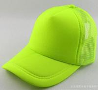 Wholesale NEON Fluorescent Mesh Plain Blank Trucker baseball hat cap color spot color fluorescent color baseball cap cap adult male Ms sun hat