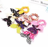 baby girl ponytail holder - Cute Bunny Baby Girl Flower Hair Clip Headbands Rabbit Ears Dot Headwear Elastic Hair Band Rope Hair Ornaments Ring