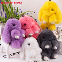 Wholesale Cute Doll Lovers - 100% Real Genuine Rex rabbit Furs Keychain Pendant Bag Car Charm Tag Cute Mini Rabbit Toy Doll Real Fur Monster Keychains