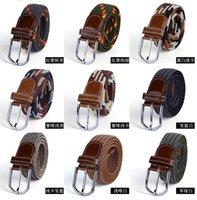 army webbing belt - 50PCS HHA610 new colors Mens Womens Canvas Plain Webbing Metal Buckle Woven Stretch Waist Belt canvas Braided Belts