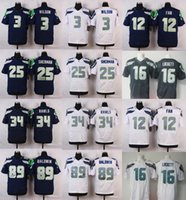 Wholesale 2016 Elite Mens Jerseys Russell Wilson Richard Sherman Navy Grey White Stitched Jerseys Free Drop Shipping