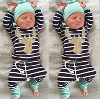baby boy bodysuits - 2016 hot sale kids fashion suits Baby Boy Girl christmas sets Newborn Infant Romper striped pants Hat Bodysuits Outfits Clothing Sets