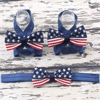 baby foot usa - Cute Newborn Baby Girls Flower Sandals USA Star Flag Pearl Foot Band Toe Rings First Walker Barefoot Sandals th Of July Anklets Accesseries