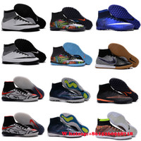 Wholesale 2016 Cheap INdoor Soccer shoes CR7 soccer cleats Superfly IC TF Turf Cleats HIgh ANkle Men football boots superfly original Blue Size