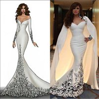 Wholesale 2016 Arabic White Mermaid Formal Evening Dresses With Wrap Long Sleeve Sweetheart Embroidery Myriam Fares Muslim Long Evening Prom Gowns