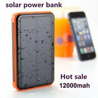 Wholesale New mAh Solar Power bank Waterproof Phone External Battery Solar Charger emergency charger for iphone s s For Pad