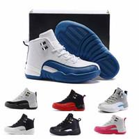 achat en gros de french-Kids Retro 12 Chaussures Enfants Chaussures de Basket-ball Garçons Filles OVO 12 Bleu Français Le Maître Taxi Chaussures de Sport Cadeau d'anniversaire pour tout-petits