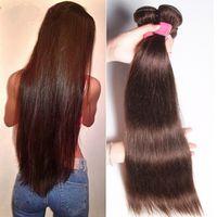 Grado 7A !!! # 2 marrón oscuro brasileño de la Virgen Remy pelo Silky Straight Weave 3Pcs Lote brasileño recto cabello humano Bundles