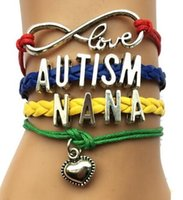 autism awareness bracelet - hot sale Infinity Love Autism Mom or Mum Grandma Nana Aunt Sister Awareness Heart Charm Leather Handmade Bradied Puzzle Piece Bracelet
