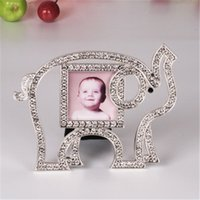 Wholesale 2016 Cute Elephant Rhinestone Crystal Metal Alloy Baby Photo Picture Frame Wedding Party Favor Kids Birthday Shower Gifts Home Decor