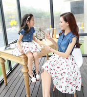 Wholesale 2016 Summer Style Family Look Matching Mother Daughter Dresses Clothes Mom and Daughter Dress Girls Jean Dress Flower Clothing