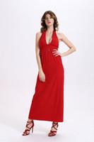 Wholesale Sexy neck hung knitting backless dress evening dress girls sweet long dress deep V neck red dress