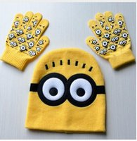 baby boy hats mittens - Minion Baby Hat Cotton Kids Cap Minions Boys Girls Hats With Knitted Gloves new brand