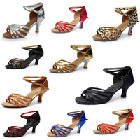 Wholesale 2016 Women s Ballroom Latin Tango Dance Shoes cm heeled Brand New girl s shoes colors A02