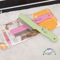Wholesale Pet flea comb pink green dog grooming combs stainless steel dog comb poodle puppy comb professional dog grooming supplies CM912