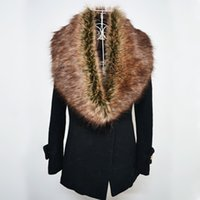 Wholesale Sleeveless Sweater Coat - 2017 Winter Faux Fur Collar Women Scarfs Fashion Coat Sweater Scarves Collar Luxury Raccoon Fur Neck Cap 12 colors FS0942