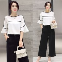 baseball pants loose - Two Pieces Set Women Summer Spring Set Short Sleeve White T shirt Top Long Loose Black Pants Summer Causal Set Women Lady Female Clothes A