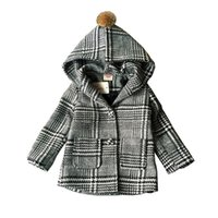 Wholesale Baby Boys Jacket Clothes Autumn winter new plaid England style thick ball hooed coats boys children winter jackets
